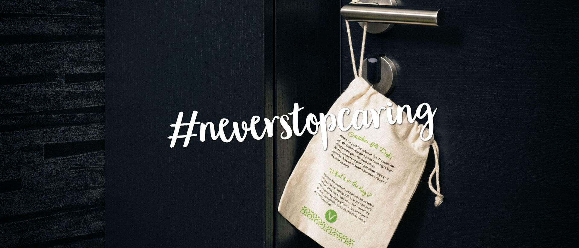 sustainability bag on the doorknob of a room